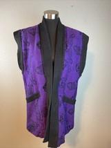 Ganesh Himal Vest L Large Purple Black Handmade Nepal Cotton Art to Wear... - $37.12