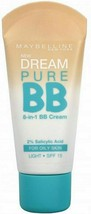 2x MAYBELLINE Dream Pure 8 in 1 BB Cream 30ml LIGHT - NEW - $24.48