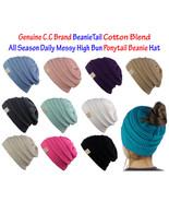 NEW! CC BeanieTail COTTON Blend All Season Messy High Bun Ponytail Beanie Hat - $16.15