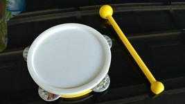 1979 #921 Vintage Fisher Price Marching Band Drum Yellow Stick & Tambourine - $8.49