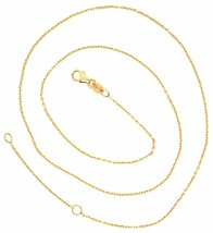 18K YELLOW GOLD CHAIN 1.0 MM ROLO ROUND CIRCLE LINK, 15.7 INCHES, MADE IN ITALY image 2