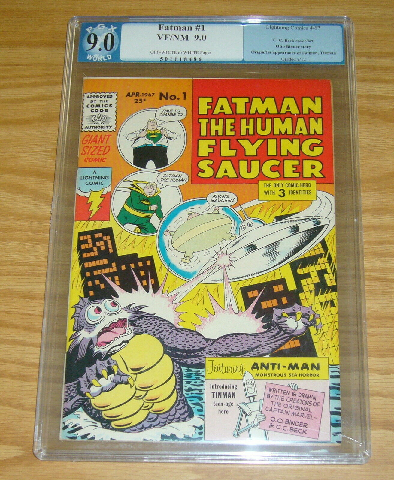 Primary image for Fatman the Human Flying Saucer #1 PGX 9.0 silver age lightning comics 1967