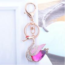 Fashion crystal keychain pink swan key ring bag pendant charm jewelry - $12.99