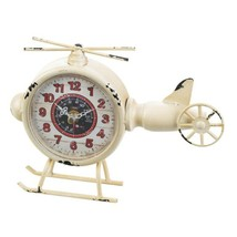 Helicopter Desk Clock Aviation Vintage Design Distressed White Finish  - $32.95