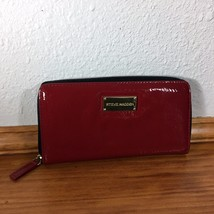 Steve Madden Shiny RED Patent Leather Zip Around Wallet Organizer Card H... - $47.03