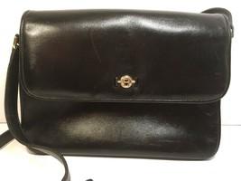 ETIENNE AIGNER Vintage Black Leather Multi Compartment Flap Shoulder Bag - $47.52