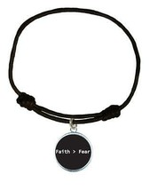 Faith > Fear Black Circle Leather Bracelet Unisex Jewelry Religious Chri... - $14.84