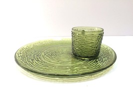 Anchor Hocking Glass 4 Avocado Green Soreno Sna... - $29.69