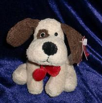 RUSS STUFFED PLUSH RANDY PUPPY DOG CREAM BEIGE IVORY BROWN HEARTS RED LU... - $14.84