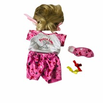 Build A Bear BAB Girls Sleep Over Outfit Pajama Blond Wig Toy Plush - $14.03