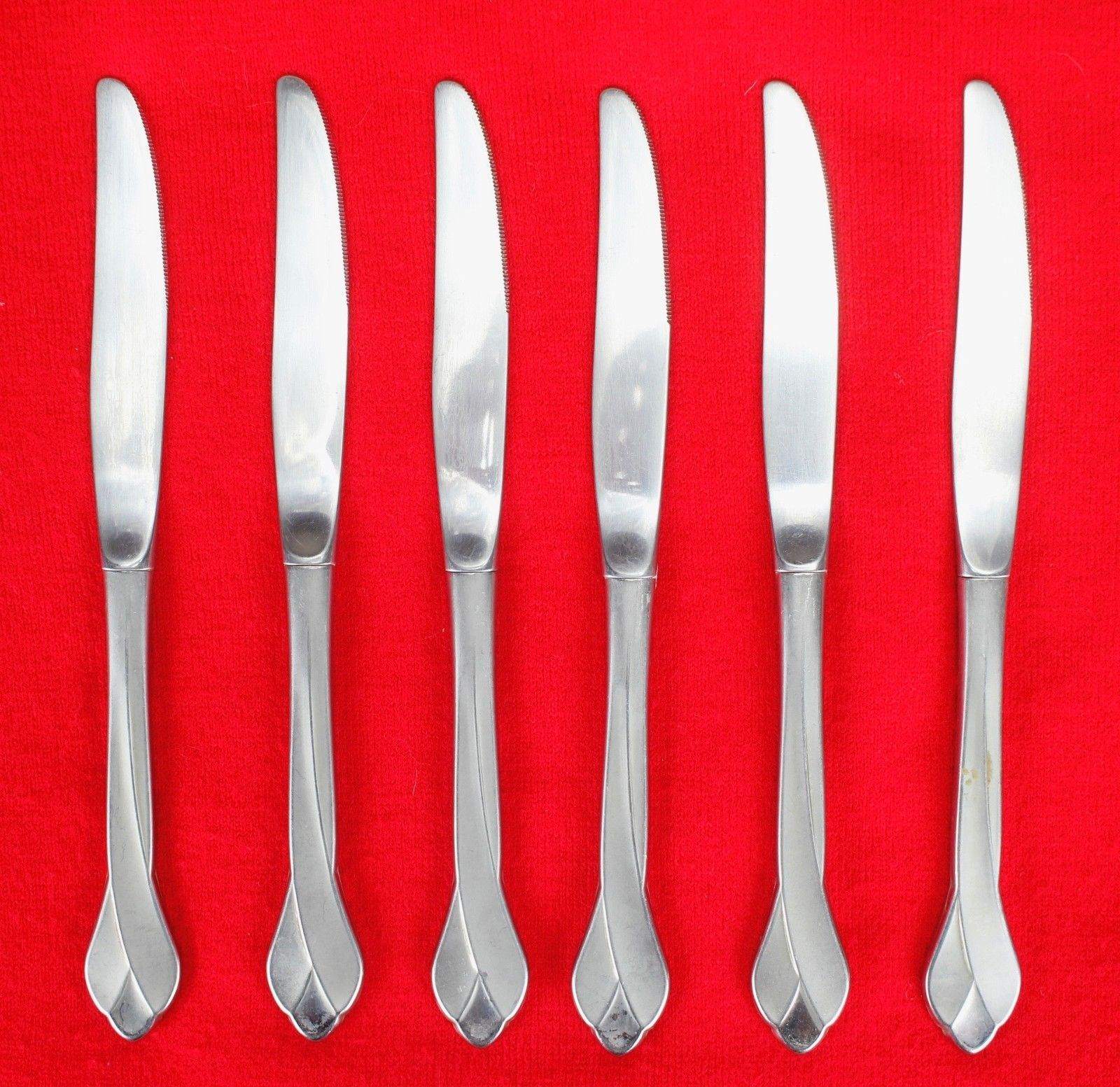 "6X Dinner Table Knives Oneida Tribeca Stainless Glossy Flatware 9"" Knife"