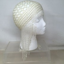 Flapper Gatsby Style Flapper White Clear  Beaded Hat Headpiece Skull Cap - $18.05