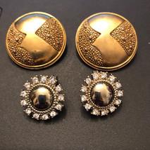 Monet 2 Pair Vtg Clip On Earrings Gold tone & Silver tone w/ Rhinestones... - $12.64