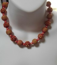 Vintage Salmon Color Grooved Carved Floral Plastic Asian Bead Choker Necklace - $34.65