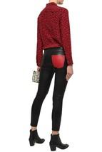 CURRENT/ELLIOTT LAMB LEATHER SLIM-LEG PANTS JEANS BLACK RED STRETCH SZ 2... - $179.99