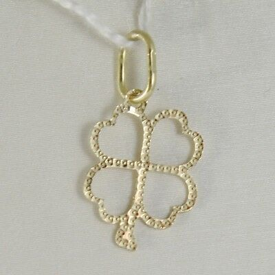 18K YELLOW GOLD FOUR LEAF CLOVER CHARM PENDANT WORKED LUMINOUS MADE IN ITALY