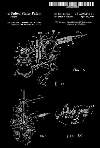 Primary image for 2007 - Roto-Tech - Rotary Tattoo Machine - R. Daigle - Patent Art Poster