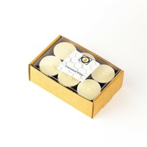 12 Natural White Unscented Beeswax Tea Light Candles, Cotton Wick, Aluminum Cup - £9.18 GBP