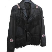QASTAN Men's New Black Native American Western Beaded Fringe Leather Jacket FJ24 - $139.00