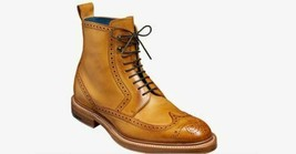 Handmade Men's Tan High Ankle Wing Tip Heart Medallion Lace Up Leather Boots image 2