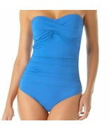 Anne Cole Blueberry Twist-Front Ruched One-Piece Swimsuit Blue Slimming ... - $49.45