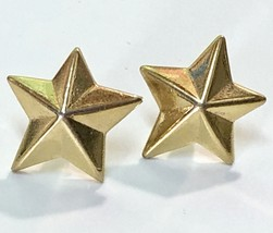 "Vintage Pierced Stud Earrings~ 1970s/80s Shiny Gold Tone 3D Stars 5/8"" - $11.40"