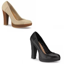 Black or Beige Women Leather Pumps with Perforated Detail and Half Platform - $57.90