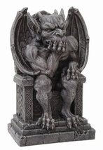 Gargoyle on Throne Statue Cold Cast Resin Figurine - £16.43 GBP