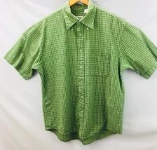 Izod  Men's Button Front Shirt Sleeve Shirt Sz Large Green Checkered A5 15 - $13.81