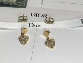 AUTH Christian Dior 2019 CLAIR D LUNE CD CRYSTAL LOGO HEART DANGLE STAR Earrings image 8