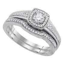 10k White Gold Round Diamond Bridal Wedding Engagement Ring Band Set 1/3 Cttw - £435.89 GBP