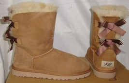 UGG Australia BAILEY BOW Chestnut Suede Boots Women's Size US 5 NEW #100... - $93.14