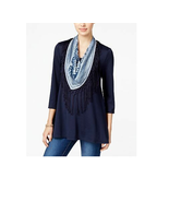 STYLE & CO Petite Industrial Blue 3/4 Sleeve Top w/Printed Scarf NWT P/S - $13.45