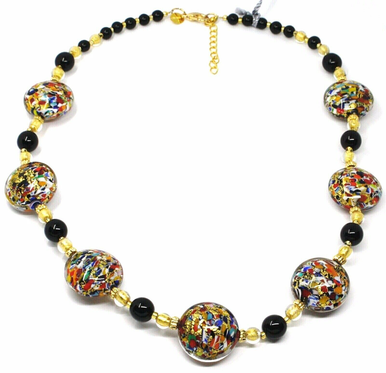 NECKLACE MACULATE MULTI COLOR MURANO GLASS BIG DISCS, GOLD LEAF, ITALY MADE