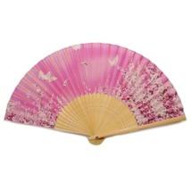"SILK HAND FAN 8"" Pink Butterfly Garden HIGH QUALITY Folding Pocket Purse... - $9.89"
