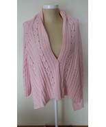 Faded Glory Pink Sweater Cardigan Elongated Sid... - $14.99