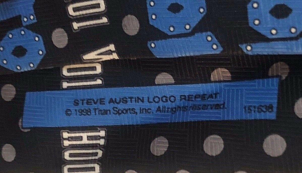 Vintage 1998 Ralph Marlin WWF Steve Austin Logo Repeat Mens Neck Tie NEW