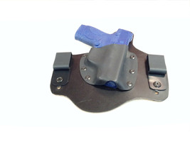 Leather Kydex Holster fits  S&W 9mm .40 .45 Shield M&P Black Loops RH draw - $39.95