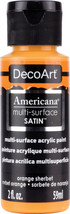 Americana Multi-Surface Satin Acrylic Paint 2Oz-Orange Sherbet - $9.78