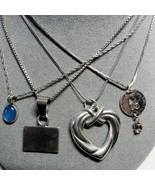 4 PC Lot 925 Sterling Silver Vintage Pendant Necklaces Heart Dangle 24.9... - $43.56