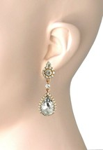 "2"" Long Vintage Inspired Clip On Earrings Clear Rhinestones Wedding, Bri... - $15.20"