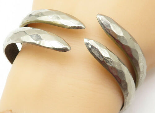 925 Silver - Vintage Hammered Texture Hinged Bypass Cuff Bracelet - B4999