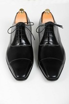 Handmade Men's Black Leather and Tweed Two Tone Dress/Formal Oxford Shoes image 3