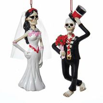 Day of the Dead Skull Bride and Groom Christmas Holiday Ornaments Set of 2 - $42.92