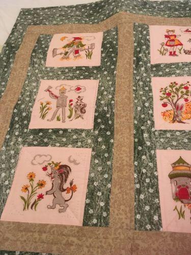 Handmade Lap Quilt Using Vintage Vogart Blocks-Wizard Of Oz