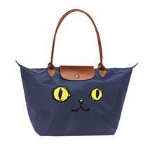 Longchamp Le Pliage Miaou Cat Large Tote Bag Long Handle Navy Blue 18995... - $155.00