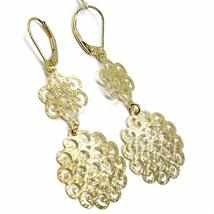 "18K YELLOW GOLD PENDANT EARRINGS, DOUBLE WORKED ONDULATE FLOWER, 5.5cm, 2.2"" image 2"