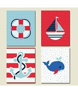 Nautical Red and Blue CANVAS Art Wall Decoration Set of 4 - $105.50