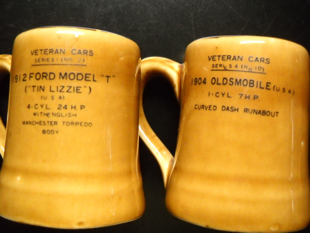 Veteran Cars Series Shot Glasses Lot of Four Mini Mug Ceramic Gift Ideas Japan