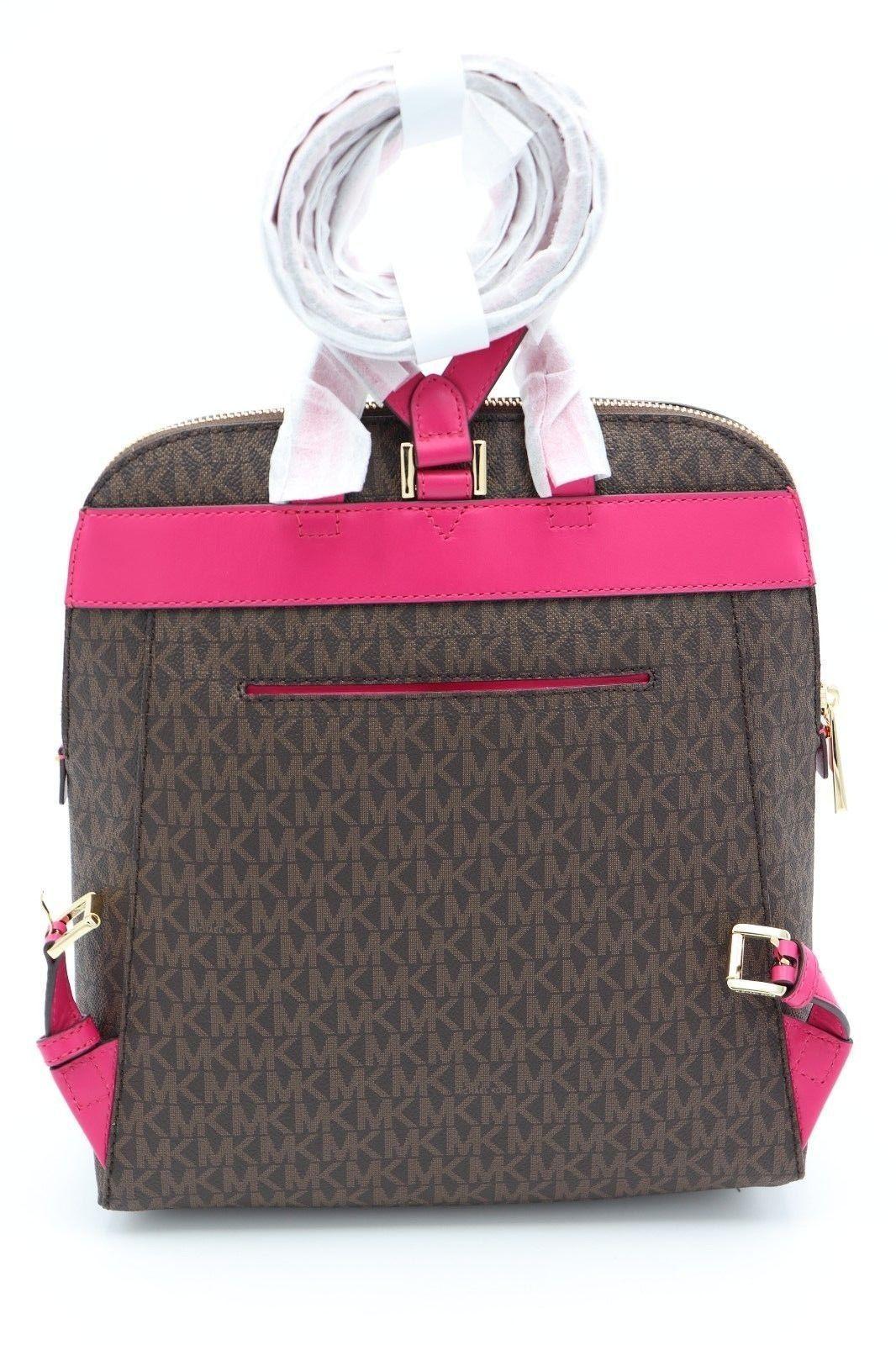ad39308ed801 NWT MICHAEL Michael Kors Rhea Brown Pink Signature Logo Zip Slim Backpack  Bag